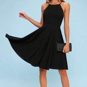 """Irresistible Charm"" Black Midi Dress"